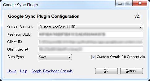 「Custom OAuth 2.0 Credentials」にチェックを入れて 今まで準備した3項目をコピペしてOKボタンを押します。