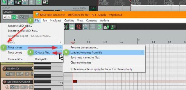 REAPERでノートネームの設定ファイルを読み込む図