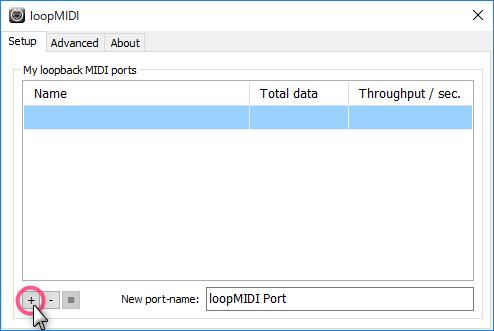 +をクリックしてポート(MIDI信号の出入口)を一個以上追加します