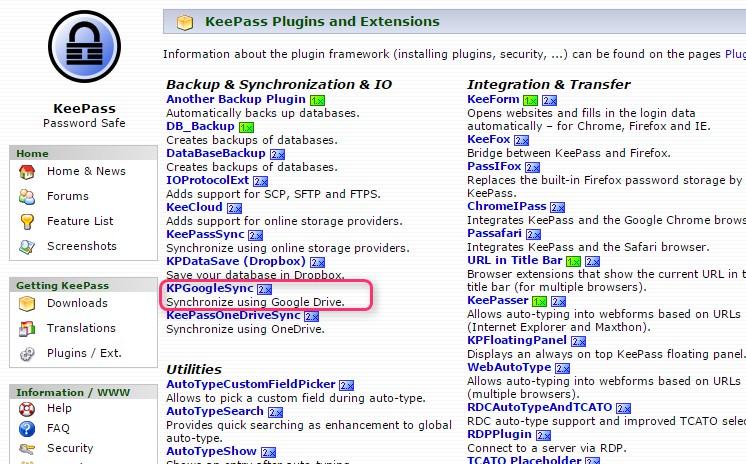 Keepass のデータを Google Drive にバックアップするプラグイン