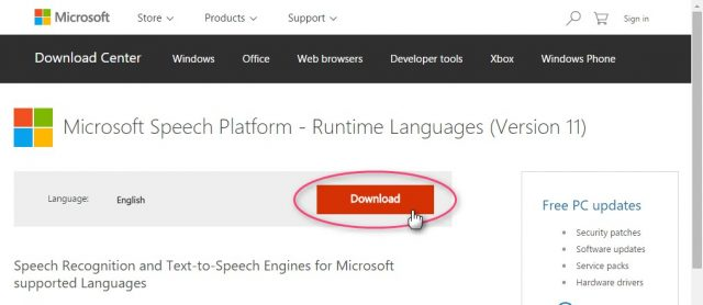 Microsoft Speech Platform - Runtime Languages (Version 11)