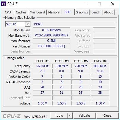 CPU-Zで入れ替え後のメモリを確認