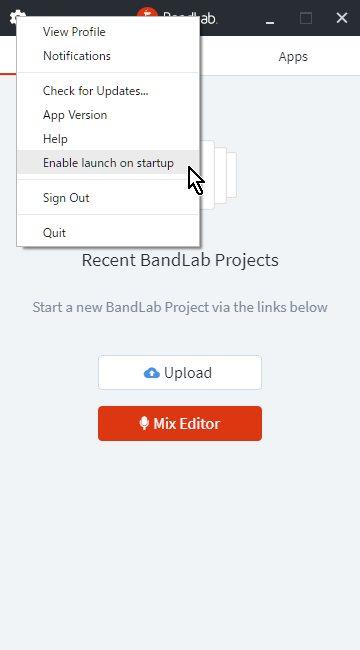 Bandlab-Assistant Option Startup Setting