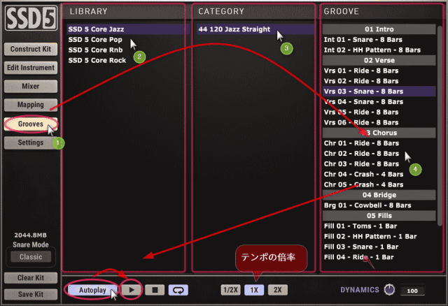 プリセットのリズムパターンを鳴らす。