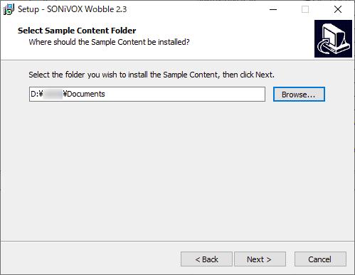 SONiVOX-Wobble2のインストール時にデータフォルダを指定