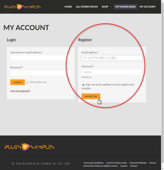 ページ右側の Register に記入してアカウントを作成します