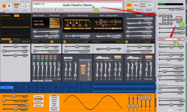 画面中央上部のメニューのPatch Brouser で「Audio Passthru Stereo」等を選んで、右側でエフェクトを選択して設定。