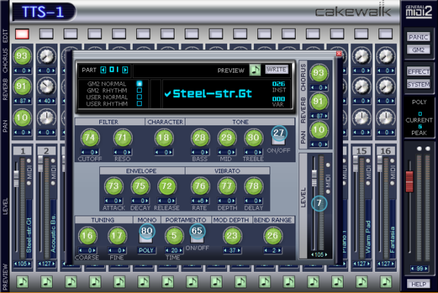 TTS-1のキャプチャ画面にMIDIコントロールチェンジのナンバーを書き込んだ図です
