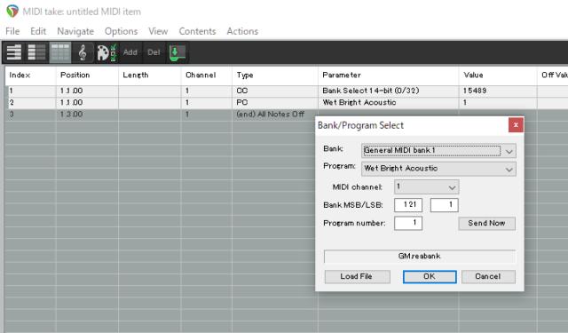 DAWのReaperでプログラムチェンジを送信する図